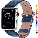 全15色 Apple Watch バンド ベルト アップルウォッチバンド38mm 42mm Fullmosa apple watch series1 2 3 バンド 本革レザー 交換バンド ラグ付き 紺青 42mm