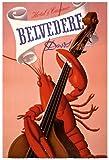 スイス、ダボス - チェロを弾くロブスターのミュージシャン - グランドホテル アンド カジノ ベルヴェデーレ - ビンテージな世界旅行のポスター によって作成された チャールズ・クーン c.1930s - アートポスター - 33cm x 48cm