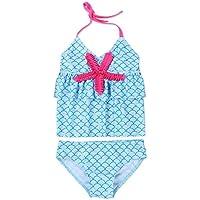 FEESHOW Kids Girls Two Piece Halter Tankini Swimsuit Mermaid Ruffle Swimwear Swimming Costumes