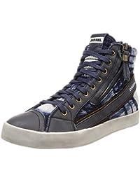 (ディーゼル) DIESEL メンズ ブリーチ デニム スニーカー D-VELOWS D-STRING PLUS - sneaker mid Y01639P1547