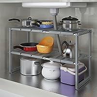 TLMY キッチンシェルフステンレス鋼伸縮式シンクラック多層ストレージラックフロアストレージラックオーブン キッチン収納