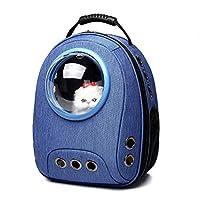 ペットトラベルバッグペットバックパックキャリア通気性防水透明スペースカプセルペット猫犬子犬バブル屋外,Blue
