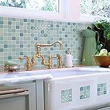【 Dream Sticker 】モザイクタイルシール キッチン 洗面所 トイレの模様替えに最適のDIY 壁紙デコレーション ALT-17 ミントモロッカン Mint morroca 【 自作アートインテリア / ウォールステッカー 】貼り方説明書付属