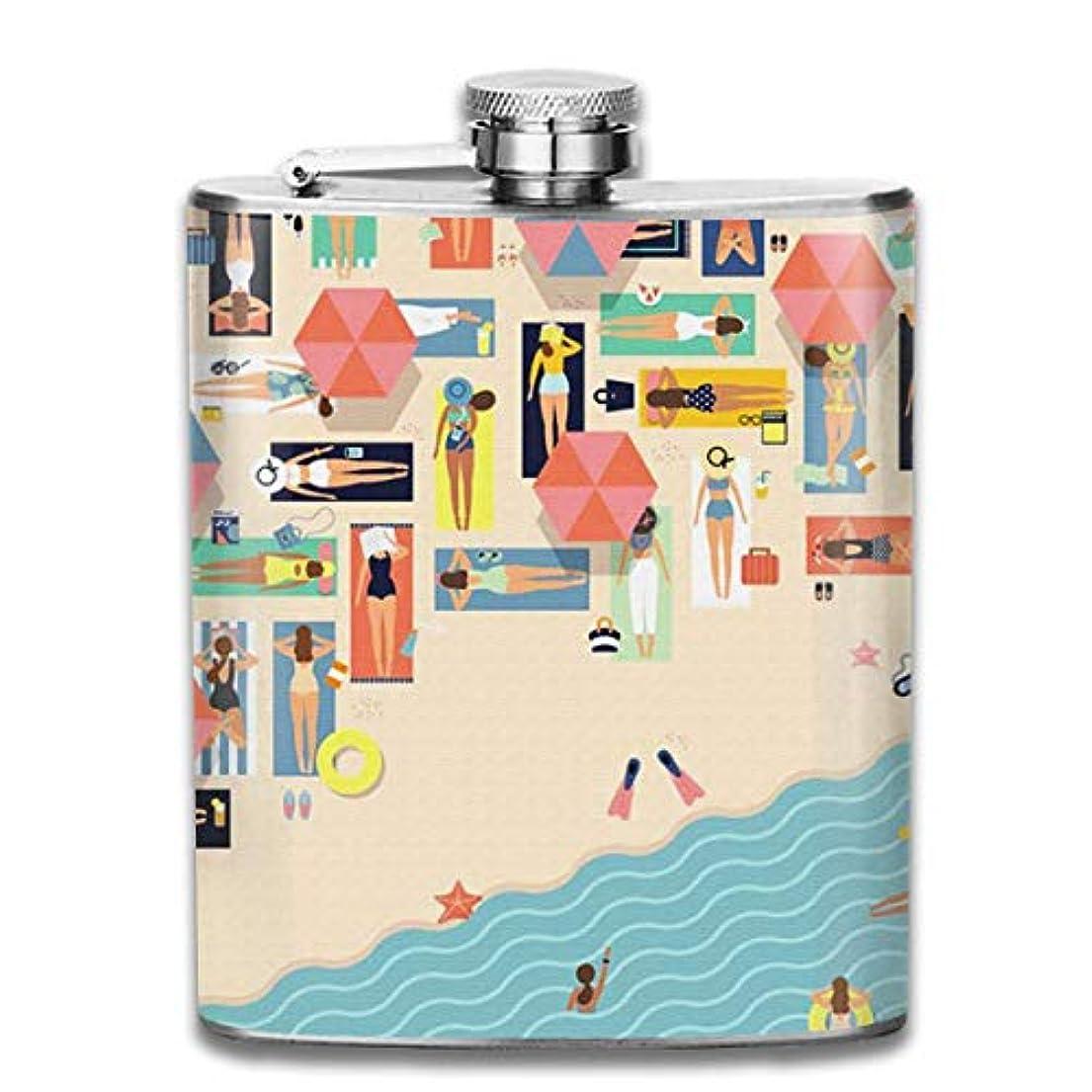 知性なめらか低い夏の砂浜フラスコ スキットル ヒップフラスコ 7オンス 206ml 高品質ステンレス製 ウイスキー アルコール 清酒 携帯 ボトル