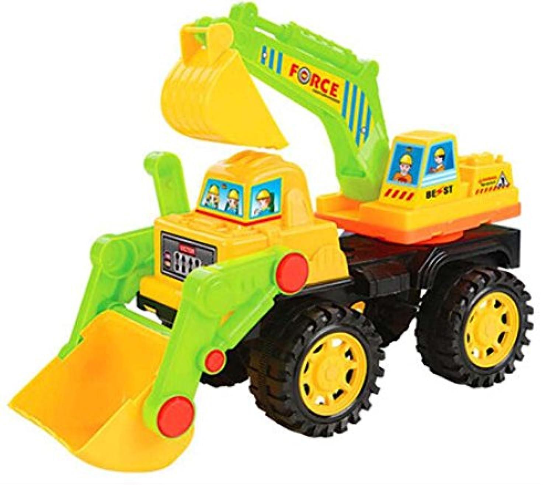 フォークリフトブルドーザー玩具スライディングエンジニアリング車両モデル - イエローグリーン