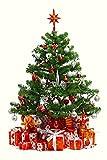 場所をとらない クリスマスツリー タペストリー 皺になりにくいフリース薄手 (Big約150×200cm, 4.レッドツリー)