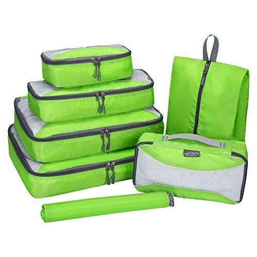 G4FREE トラベルポーチ アレンジケース 防水 大容量 衣類 靴 下着整理 収納バッグ 小物入れ 旅行 出張用 便利グッズ 7点セット グリーン