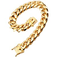 FANS JEWELRY Mens Fashion Stainless Steel Gold Plated Miami Cuban Link Chain Necklace Bracelet 7-40 inch