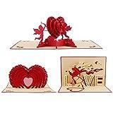 CCINEE 可愛い 3D バレンタインデー カード LOVE 愛情 告白 立体ポップアップ ロマンチック カード 3枚セット