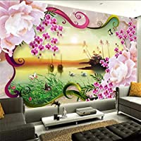 Xueshao 江南水釣り舟花牡丹玉テレビ壁カスタム大型壁画壁紙-200X140Cm