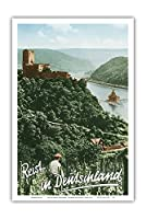 ドイツへの旅 - Fuerstenberg城跡 - ライン渓谷 - ビンテージな世界旅行のポスター によって作成された F.クラッツ c.1950s - アートポスター - 31cm x 46cm