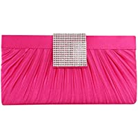 Wiwsi Women Pleated Flap Crystal Design Clutches Purse Evening Party Handbags