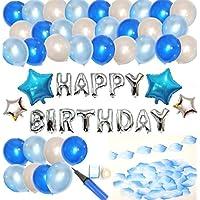 楽MoMo 星型 アルミ & ゴム 風船 ブルー系 誕生日 飾りつけ セット バースデイ