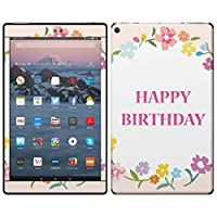 igsticker Kindle Fire HD 10 第7世代 全面スキンシール タブレット tablet シール ステッカー ケース 保護シール 背面 015591 誕生日 英語 花