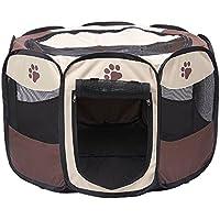 Wagako ペット用品 犬猫 サークル ケージ プレイサークル 折り畳み式 八角形 コンパクト収納可能 屋根付き アウトドア 屋内 コーヒー色 S