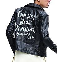 ディバイナー(DIVINER) ライダースジャケット メンズ ダブルライダース 本革 革ジャン ジャケット バックプリント ブルゾン L ブラック