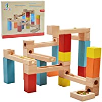 Wishtime 玉転がし ビーズコースター 木製 スロープ 33点セット 木のおもちゃ 積み木 ブロック 知育 玩具 収納袋付き 知育玩具 3歳