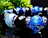 最高級5A数珠12mm◇青彫四神獣水晶×アクアマリン×マリンブルータイガーアイ×カットオニキス(オーガンジーポーチ付き)【パワーストーンブレスレット】【天然石数珠】