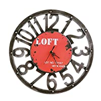 40 cm大型木製壁時計アンティークヴィンテージレトロスタイルホーム/ホテル/バー/オフィス装飾ギフトアイデアバッテリーなしクリエイティブ(色:赤)