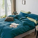 Caurbed Duvet Cover Queen Set 3 Pieces 100% Washed Microfiber Teal Cozy Soft Breathable Comforter Cover with Zipper Closure B