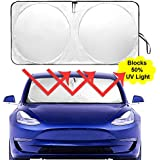 Auto Rover The Original Windshield Sunshade for Tesla Model-3 2018 2019 Custom Fit Sun Shade, Silver Serie,ODM