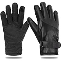 EGOGO Men Warm PU Leather Gloves with Thick Cashmere Fleece Lining for Winter and Fall Motorcycle Driving E607-1