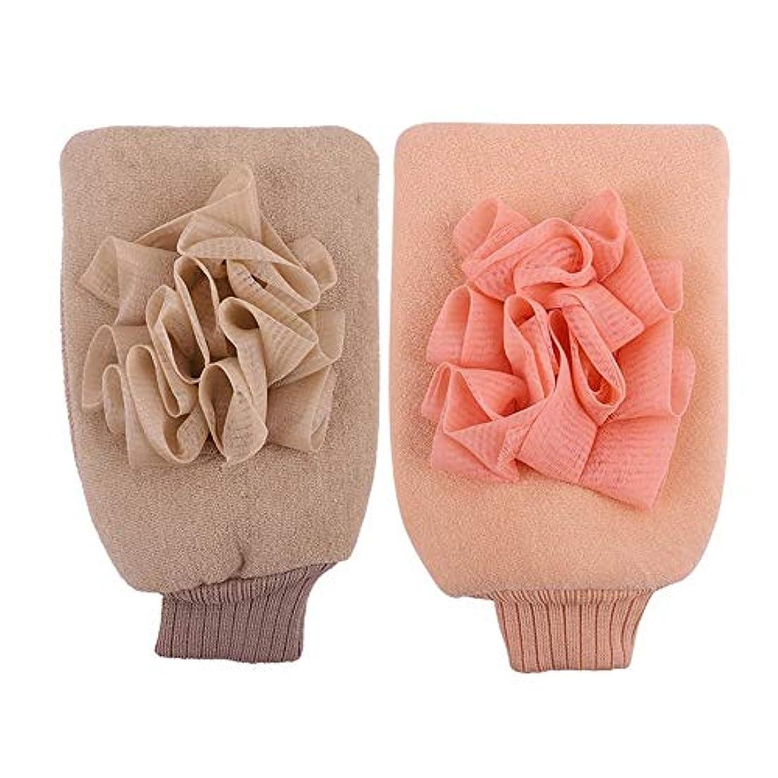 囲むまだら乗り出すBTXXYJP お風呂用手袋 シャワー手袋 あかすり手袋 ボディブラシ やわらか ボディタオル バス用品 男女兼用 角質除去 (Color : Pink+beige)