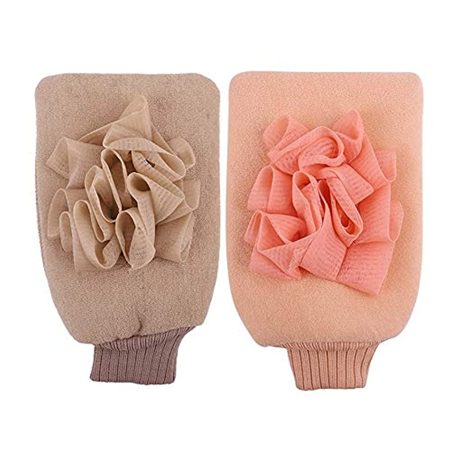 スキャン復讐労苦BTXXYJP お風呂用手袋 シャワー手袋 あかすり手袋 ボディブラシ やわらか ボディタオル バス用品 男女兼用 角質除去 (Color : Pink+beige)