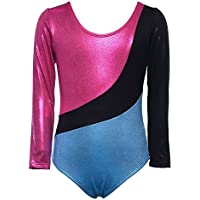 Weixinbuy Girls' Ballet Long Sleeves Leotard Gymnastics Athletic Dancerwear