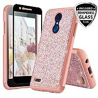 TJS LG K10 (2018)/LG K30/LG Premier Pro LTE Case With [Full Coverage Tempered Glass Screen Protector] Glitter Bling Girls Women Design Dual Layer Heavy Duty Hybrid Phone Case Cover (Rose Gold)