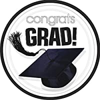 congrats grad white graduation dessert plates おめでとうグラド