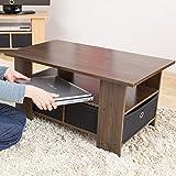 【収納ケース2個付き 使いやすいセンターテーブル】 幅80×奥行40cm すっきり片付くテーブル 中下棚3分割収納 32型対応テレビ台可 訳有り ブラウン色