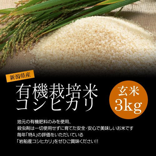 【お土産】減農薬米コシヒカリ 玄米 3kg/化学肥料ゼロで育てた新潟産有機米