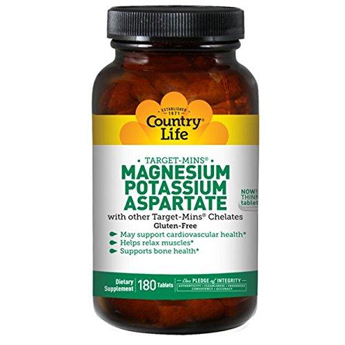 海外直送品Country Life Magnesium - Potassium Aspartate Target-Mins, 180 Tabs