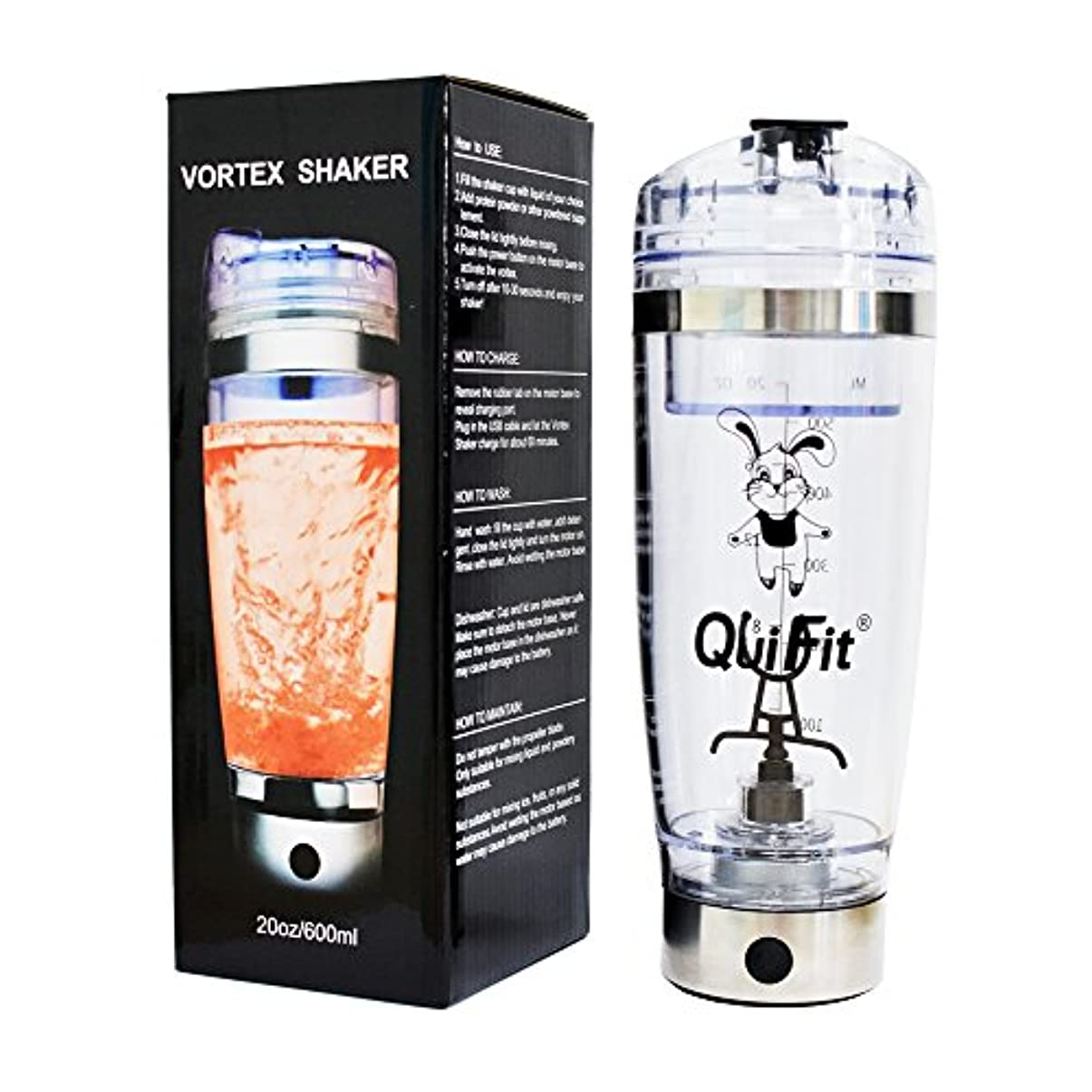 あご回復するゆり電気タンパク質振動瓶、QuiFit 20 OZ USB充電式タンパク質スクロールカップ、パウダーシェイクに適した電動ポータブル自動ミキサー、100%リーク防止保証 - BPAなし (600ml)