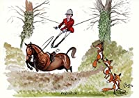 """"""" Roped In """" HORSE AND FOXHUNTING Cartoon Greeting Card by Brynパリー"""