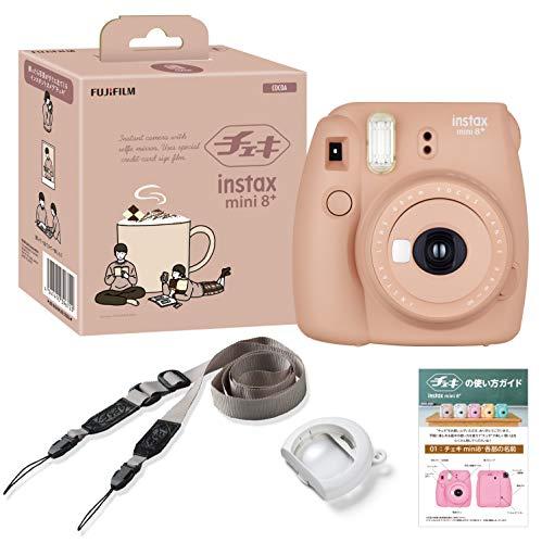 FUJIFILM インスタントカメラ チェキ instax mini8プラス 接写レンズ・純正ショルダーストラップ付き ココア INS MINI 8PLUS COCOA