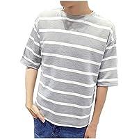 ボーダー Tシャツ カットソー ビッグシルエット 半袖 五分袖 良質素材 M 〜 5XL サイズ