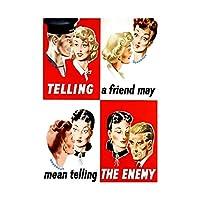 War Warning Careless Talk 1942 (uk) Picture Framed Wall Art Print 戦争戦争画像壁