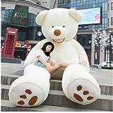 HYAKURIぬいぐるみ 特大 くま/テディベア アメリカCostCo 可愛い熊 動物 大きい/巨大 くまぬいぐるみ/熊縫い包み/クマ抱き枕/お祝い/ふわふわぬいぐるみ130cm (130cm, ホワイト)