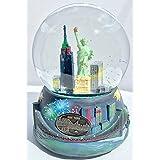 MusicalニューヨークNYスカイラインEmpire自由の女神Fireworks Snow Globe Glitterdome 100 mm