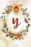 """Notebook 6""""x9"""", Letter Y, Orange Green Floral Design"""