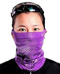 searina フェイス マスク バンダナ ニット帽 男女兼用 UV 紫外線カット 呼吸楽 防寒 スキー ボード 自転車 (①パープル)