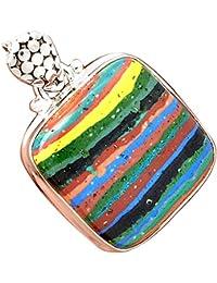 Lovegem レインボーcalsilica, Rainbow Calsilica シルバー925ペンダント, 33 mm, AP2529