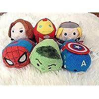 Disney Marvel Mini Tsum Tsum Set of 6 (spiderman, black widow, thor, hulk, iron man, and captain america)