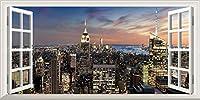 絵画風 壁紙ポスター (はがせるシール式) -窓の景色- ニューヨーク マンハッタン パノラマ夜景 エンパイヤーステートビル USA 【窓仕様/トリックアート】 キャラクロ NYK-002MS1 (1152mm×576mm) 建築用壁紙+耐候性塗料