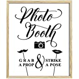 Photo Booth Prop Strike a Pose看板、パーティウェディングパーティーサイングラブ印刷–フレームは含まれていません 8 x 10 Inches ホワイト DS-JSP37-8x10
