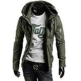 AMBLY ミリタリージャケット メンズ ライダース ブルゾン アウター ジップアップ コーデ バイクウェア 黒 青 緑 春 夏 秋 メンズファッション (ベージュXL)