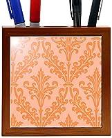 Rikki Knight 5-Inch Light Orange Color Damask Design Wooden Tile Pen Holder (RK-PH1319) [並行輸入品]