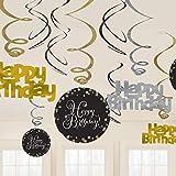 (アムスキャン) Amscan 誕生日パーティー Happy Birthday スワール ハンギングデコレーション 天井飾り (12個セット)